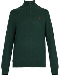 Polo Ralph Lauren - Logo-embroidered Half-zip Cotton-piqué Sweater - Lyst