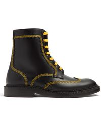 Burberry - Topstitch Lace-up Leather Ankle Boots - Lyst