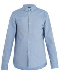 A.P.C. - Point-collar Cotton Shirt - Lyst