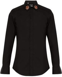 Dolce & Gabbana - Martini Slim Fit Crown Embroidered Shirt - Lyst