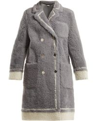 Thom Browne - Contrast Trim Shearling Coat - Lyst