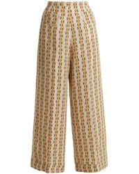 Etro - Wide-leg Crescent-print Silk Trousers - Lyst
