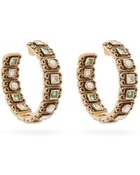 Jade Jagger Emerald, Diamond And Pearl 18kt Gold Hoop Earrings