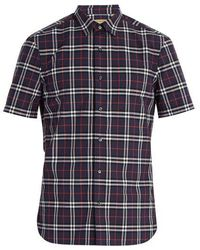 Burberry - Point-collar Checked Cotton Shirt - Lyst