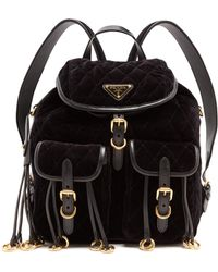 Prada - All Designer Products - Leather-trimmed Quilted-velvet Backpack - Lyst