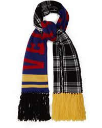 af5f14bd61a Versace - Checked Logo Intarsia Wool Scarf - Lyst