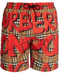 Burberry - Graffiti And Check-print Swim Shorts - Lyst