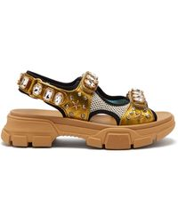 Gucci - Crystal Embellished Leather And Mesh Sandals - Lyst