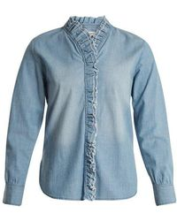 Étoile Isabel Marant - Lawendy Ruffle-trimmed Stretch-cotton Shirt - Lyst