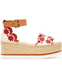 See By Chloé - Laser Cut Leather Flatform Espadrilles - Lyst