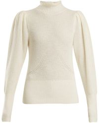 FRAME - High Neck Wool Blend Ribbed Knit Sweater - Lyst