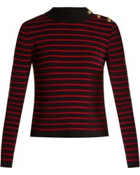RED Valentino   Tulle-paneled Striped Cotton Sweater   Lyst