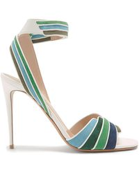 Valentino - Striped Leather And Suede Sandals - Lyst