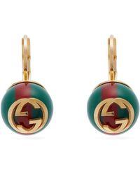 Gucci - Gg Web Stripe Earrings - Lyst