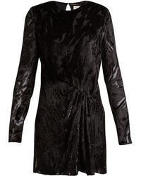 Saint Laurent - Robe courte en velours dévoré à manches longues - Lyst