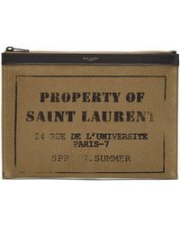 Saint Laurent - Logo-printed Leather-trimmed Cotton Pouch - Lyst