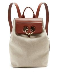 JW Anderson - Pierce Linen-canvas And Leather Backpack - Lyst