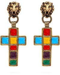 a5bb867c041 Gucci - Enamelled Cross Clip On Earrings - Lyst
