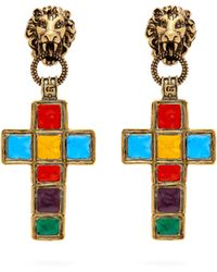 Gucci - Enamelled Cross Clip On Earrings - Lyst