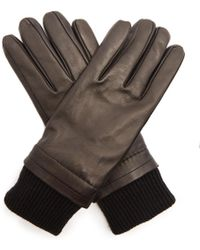 AMI - Contrast-panel Leather Gloves - Lyst