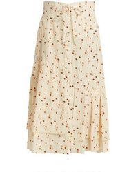 Sea - Margaux Floral-print Ruffled Cotton Midi Skirt - Lyst