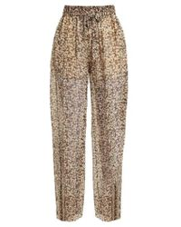 Zimmermann - Prima Cherry Silk-georgette Trousers - Lyst