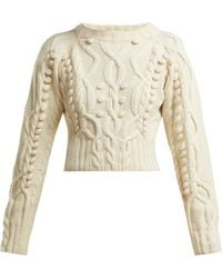 SPENCER VLADIMIR - Cable Knit Merino Wool Blend Cropped Jumper - Lyst