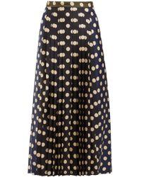 La Prestic Ouiston - Sagan Polka Dot Silk Pleated Midi Skirt - Lyst