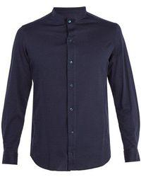 Giorgio Armani - Granddad-collar Cotton Shirt - Lyst