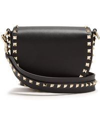 Valentino - - Rockstud Saddle Mini Leather Shoulder Bag - Womens - Black - Lyst