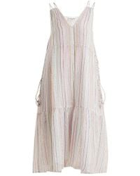Apiece Apart - Daphne Metallic-striped Cotton-blend Midi Dress - Lyst