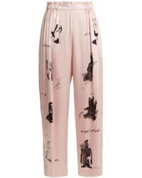 Claire Barrow - Dog-print Wide-leg Silk-satin Trousers - Lyst
