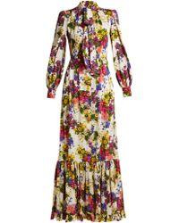 Dolce & Gabbana - Primrose Print Silk Blend Charmeuse Gown - Lyst
