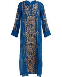 Juliet Dunn - Metallic Embroidered Silk Kaftan - Lyst