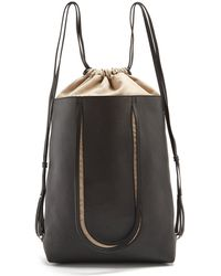 Maison Margiela | Contrast-panel Drawstring Leather Backpack | Lyst