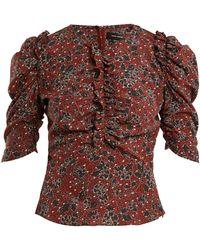Isabel Marant - Brizo Ruffle Trimmed Floral Print Stretch Silk Top - Lyst