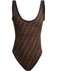 Fendi - Ff Jacquard Scoop Neck Swimsuit - Lyst