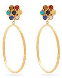 Sylvia Toledano - Flower Gold-plated Clip-on Hoop Earrings - Lyst