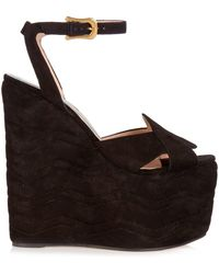 Gucci - Sally Suede Wedge Sandals - Lyst