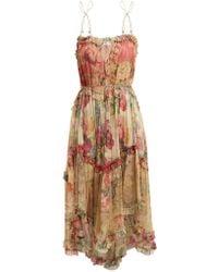 Zimmermann - Melody Floating Floral-print Silk Dress - Lyst