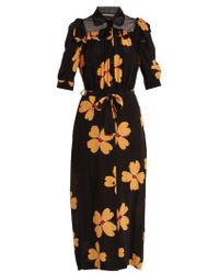 Simone Rocha - Floral-print Tie-waist Crepe De Chine Shirtdress - Lyst