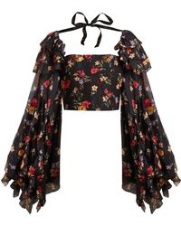 Rodarte - Square-neck Floral-print Silk-blend Blouse - Lyst