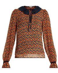 Talitha - Ashanti-print Contrast-collar Silk Blouse - Lyst