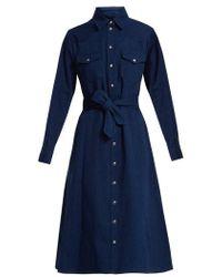 A.P.C. - Annie Point-collar Cotton-denim Shirtdress - Lyst