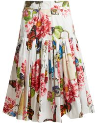 Dolce & Gabbana - Butterfly And Padlock-print Cotton-poplin Skirt - Lyst