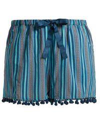 Figue - Maja Striped Pom Pom-hem Shorts - Lyst
