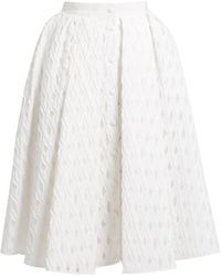 Sara Battaglia - Button-through Cotton-blend Fil Coupé Full Skirt - Lyst
