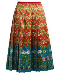 Gucci - Floral-print Pleated Silk-satin Skirt - Lyst