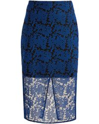 Diane von Furstenberg - Geometric Embroidered Tulle Pencil Skirt - Lyst