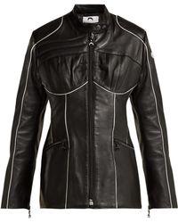 986f67a46b0 Marine Serre - Corset Style Leather Biker Jacket - Lyst